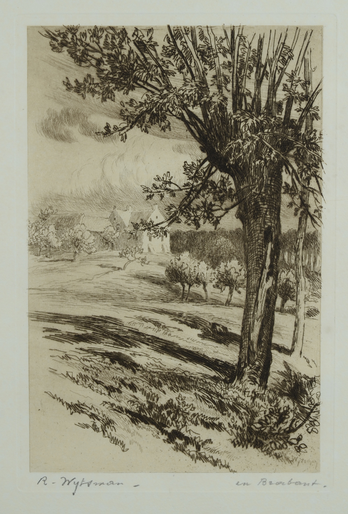Rodolphe Wytsman — Etching of a landscape in Brabant (Belgium)