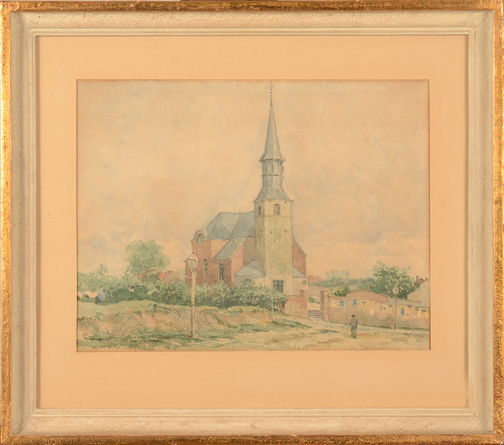Rodolphe Wytsman Etterbeek Church — Framed watercolour, view of the old St Gertrude church at Etterbeek, Brussels