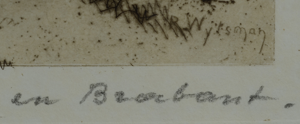 Rodolphe Wytsman — Detail of the signature in the plate and title in pencil, bottom right.
