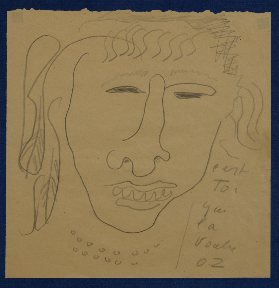 Ossip Zadkine — An original line drawing in pencil.