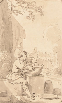 The potter working outdoors