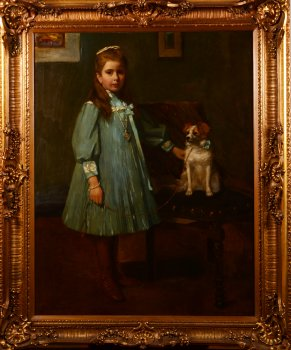 Nestor Cambier Girl with dog