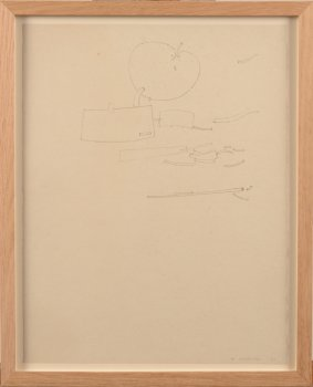 Werner Cuvelier abstract drawing with apple