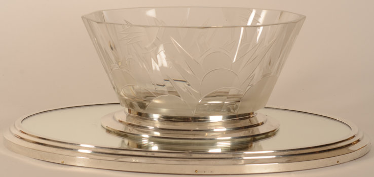 Delheid Freres Art deco jardiniere silver and crystal