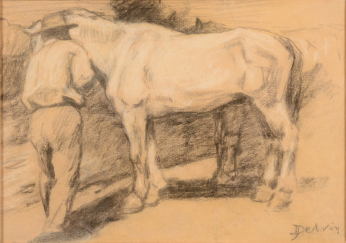 Jean Delvin horse and groom drawing