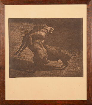 Jean Delvin etching Picador and bull