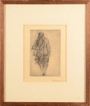 Maurice Dupuis etching woman