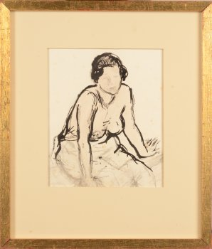 Maurice Dupuis sitting nude drawing