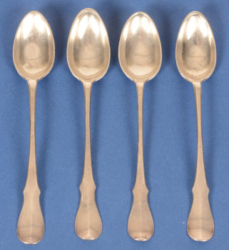 Johannes Franciscus Deprez 4 silver coffee spoons 18th century