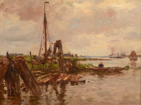 Victor Gilsoul a view on the river Schelde near Antwerp