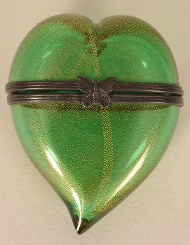 A heart shaped glass box
