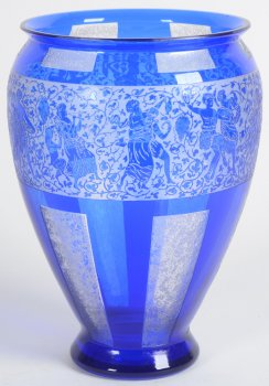 Blue Glass vase with dancing figures