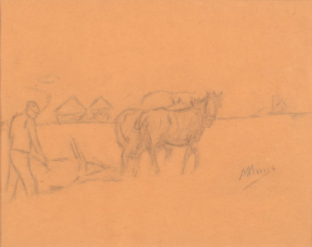 Modest Huys drawing of a farmer ploughing