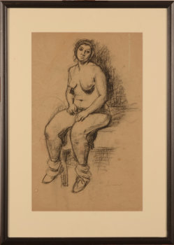 Victor Lorein Sitting nude drawing