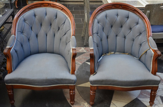 A pair of Louis-Philippe mahogany arm chairs