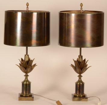 Maison Charles Pair of Lotus lamps