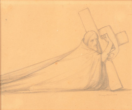 George Minne Christ fallen under the cross drawing
