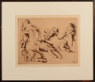 ​Jenny Montigny etching study of sleeping children