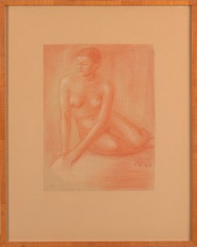 ​Jan Mulder sitting nude 1945