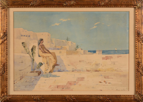 Nestor Outer watercolour view of Alger 1889