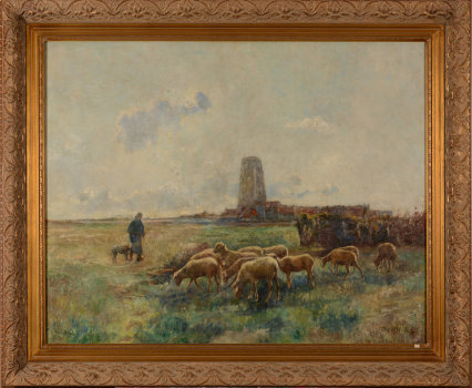 Raph Robert Shepherd and his flock near Lissewege