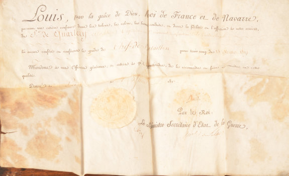 King Louis XVIII of France promotion document
