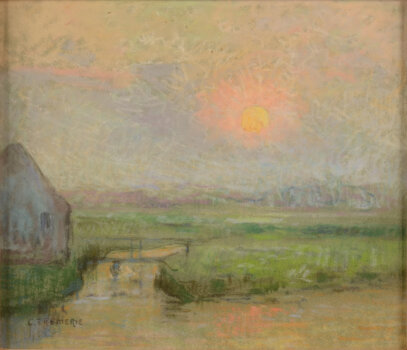 Carolus Tremerie Pastel Sun on the river Leie