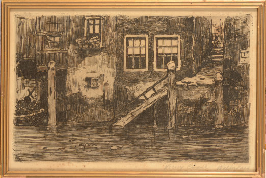 Walter Vaes Old canal Etching