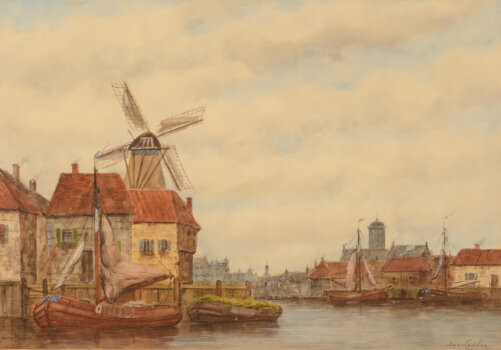 Jan Van Couver (H. Koekkoek Jr.) a view a city at the banks of a large river