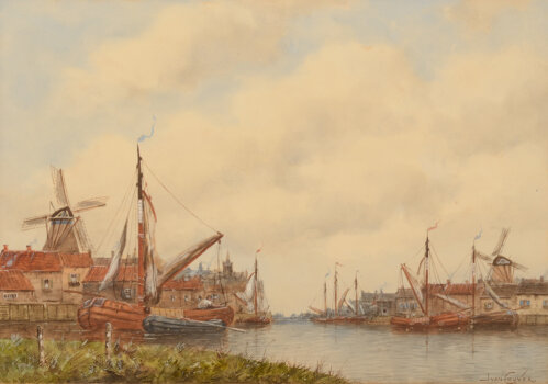 Jan Van Couver (H. Koekkoek Jr.) a view of a city near the banks of a large river with two windmills