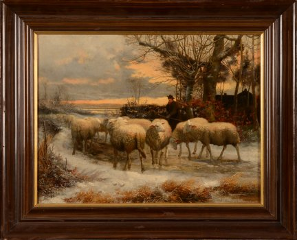 Jef Louis Van Leemputten Shepherd with his flock