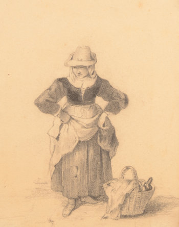 Drawings of  a man and a woman in 18th century dress