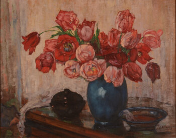 Jacques Allaert att. to a flower still life in red, pink and blue