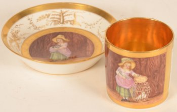 Allegorical porcelain cup and saucer