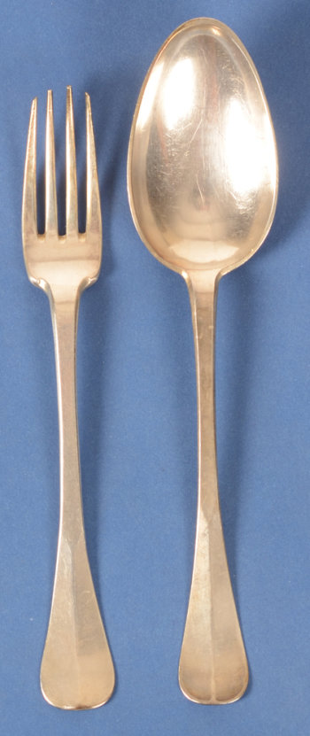 Antwerp Silversmith BE silver fork and spoon 18th century