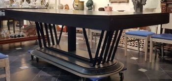 Large modernist table in metal and wood