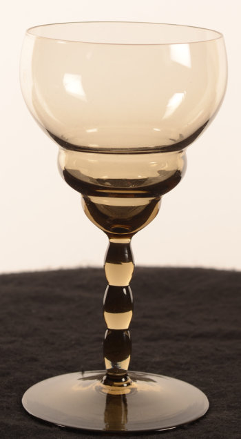 Art deco wine glass in brown smokey quartz glass