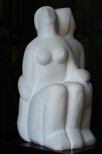Roger Bracke marble sculpture sitting couple