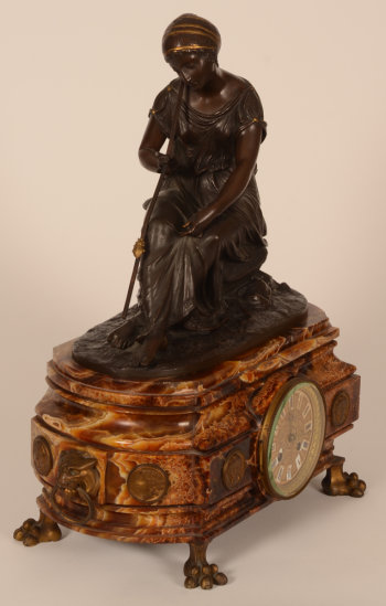 Bronze and onyx marble clock