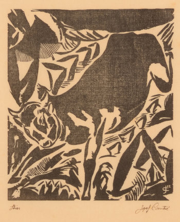 Jozef Cantré the bull woodcut