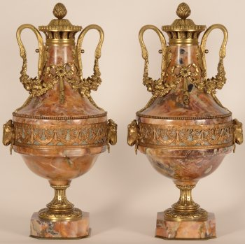 Pair of Marble and bronze vases