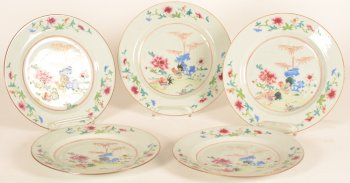 A set of six Chinese porcelain famille rose plates