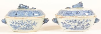 Two blue and white Chinese export porcelain tureens