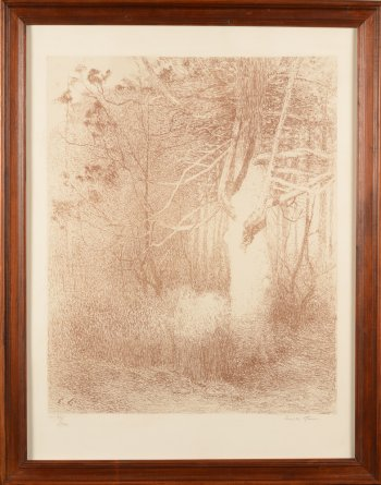 Emile Claus lithograph tree in the sun