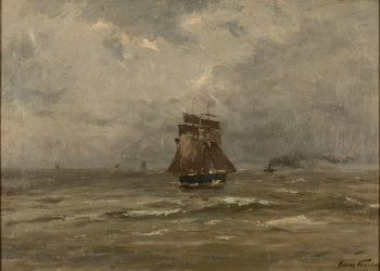 Franz Courtens two-master at sea