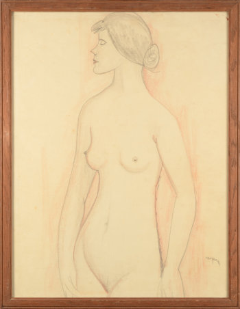 Pere Creixams drawing of a standing nude