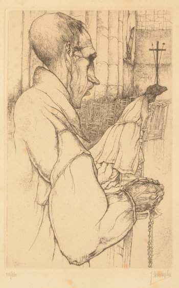 Jules De Bruycker Eglise St-Nicolas Blind man praying 1938
