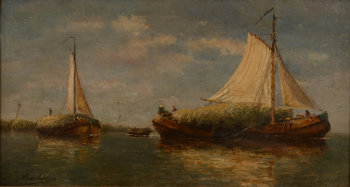 Louis De Burbure Flatbottom Boats collecting the Harvest
