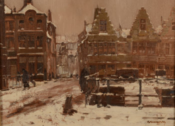 Alfons De Cuyper the city of Gent in the snow