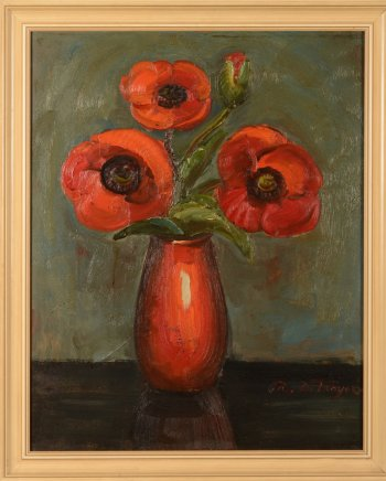 Prosper De Troyer Poppies in a red vase